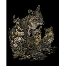 Fox and Cubs Art Engraving (Set of 2)