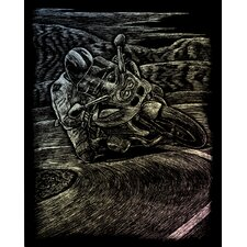 Holographic Motorcycle Race Art Engraving (Set of 2)