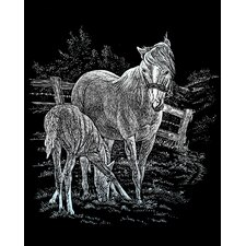 Mare and Foal  Art Engraving (Set of 2)