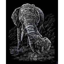Elephant and Baby Art Engraving (Set of 2)