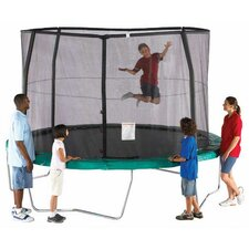 15' Enclosure Trampoline Net Using 4 Straight-Curved Poles