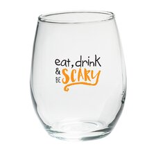 Eat Drink Be Scary 15 Oz. Stemless Wine Glass (Set of 4)