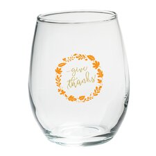 Give Thanks 15 Oz. Stemless Wine Glass (Set of 4)