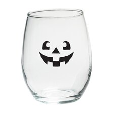 Jack O Lantern 15 Oz. Stemless Wine Glass (Set of 4)