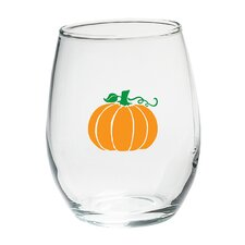 Pumpkin 15 Oz. Stemless Wine Glass (Set of 4)