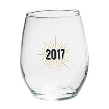 New Years 2017 15 Oz. Stemless Wine Glass (Set of 4)