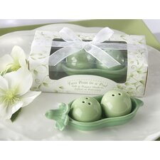 Two Peas in a Pod Ceramic Salt and Pepper Shakers in Ivy Leaf Print Box (Set of 10)
