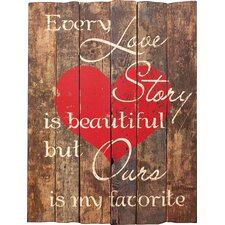 Wooden Sign Love Story Print Painting