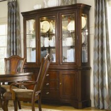 American Traditions Buffet with Hutch in Distressed Rich Cordovan Mahogany