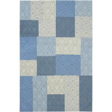 Collage Light Blue/Pale Dull Blue Patchwork Area Rug