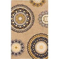 Mod Elegance Casual Hand Tufted Khaki Area Rug