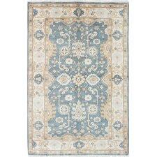 Royal Ushak Hand-Woven Cream/Light Turquoise Area Rug
