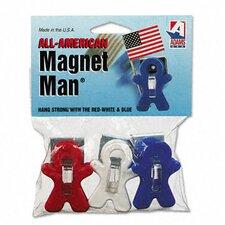 Magnet Man Clip, Plastic, Assorted Colors, 3/pack