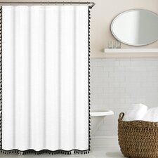 100% Cotton Tassel Shower Curtain