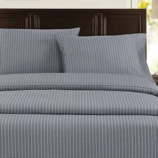 Pinstripe 300 Thread Count 100% Cotton Sateen Sheet Set