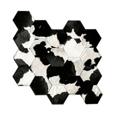 Patchwork Cowhide Japanese Black/Gray Area Rug
