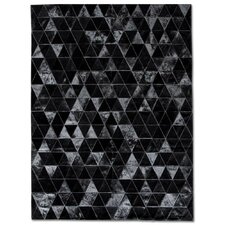 Patchwork Cowhide Kahn Black Area Rug