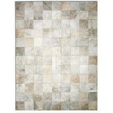 Patchwork Cowhide Park Exotic Zebu White Area Rug
