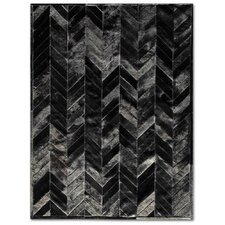 Patchwork Cowhide Yves Black Area Rug