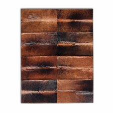 Patchwork Cowhide Oak Normand Dark Brown Area Rug