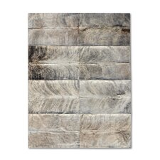 Patchwork Cowhide Oak Exotic Zebu Gray Area Rug
