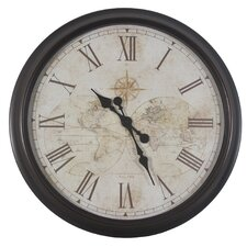 "Oversized 30"" Antique Map Wall Clock"