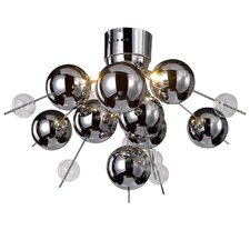 6 Light Glass Ball Semi Flush Ceiling Light