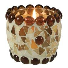 """4-tlg. Teelichtschale """"Mosaik"""" in Braun / Orange"""