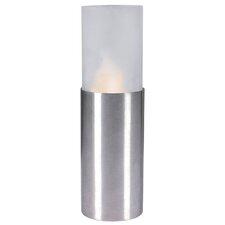 LED Kerze in Stahl blank / Weiß