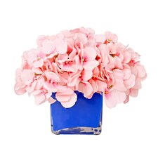 Pink Hydrangea in Navy Glass Vassel
