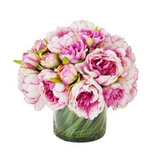 Faux Magenta & Pink Peony in Glass Vase