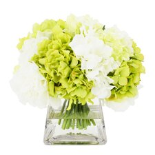Apple Green and White Hydrangea in Pyramid Glass Pot