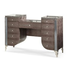 Hollywood Swank Upholstered Vanity with Mirror