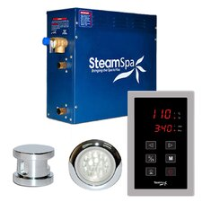 SteamSpa Indulgence 9 KW QuickStart Steam Bath Generator Package in Polished Chrome
