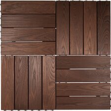 "Wood 23.425"" x 7.835"" Interlocking Deck Tiles in Brown"