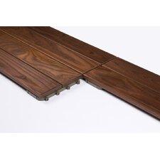 "Wood 31.3"" x 7.835"" Interlocking Quick Deck Tiles in Brown"