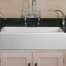"Caesar 36"" x 18"" Reversible Farmhouse Kitchen with Basin Grid and Basket Strainer"