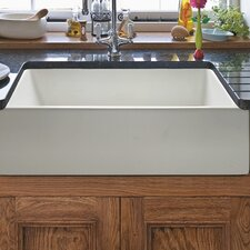"Caesar 24""x18"" Reversible Thick-Edge Fireclay Farmhouse Kitchen Sink Set with Free Grid and Strainer"