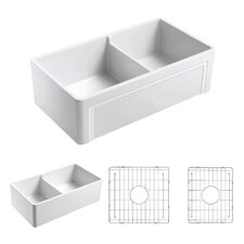 "Olde London 33""x18"" Double-Bowl Reversible Fireclay Farmhouse Set with Kitchen Sink Free Grid"