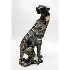 Mosaic Animal Leopard Sitting Figurine