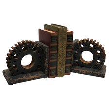 Gear Wooden Book Ends (Set of 2)