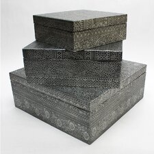 Embossed Metal Boxes (Set of 3)