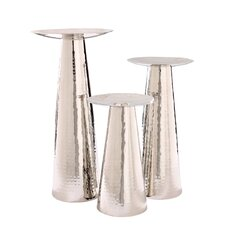 3 Piece Safari Nestor Nickel Candlestick Set