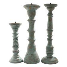 3 Piece Safari Lau Wood Candlestick Set