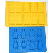 2 Piece Building Bricks and Minifigure Ice Cube Tray or Candy Mold Set