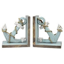 Latitudes Wood Anchor Book End (Set of 4)