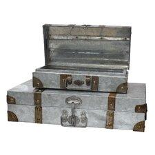 Stonebriar 2 Piece Aged Galvanlized Suitcase with Rust Trim Set