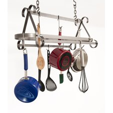 Compact Scrolled Hanging Pot Rack