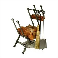Front-Loading 3 Piece Steel Fireplace Tool Set with Log Rack
