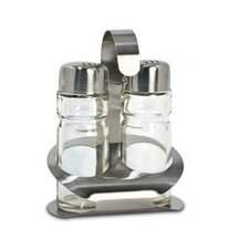 Salt and Pepper Shakers with Caddy in Brushed Satin (Set of 4)